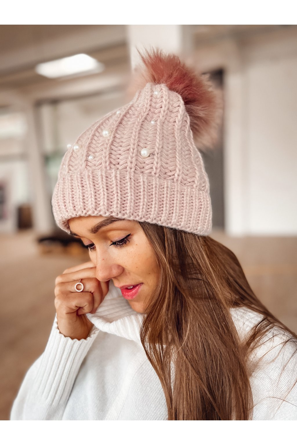 damska cepice pearl powder pink eshopat cz 1