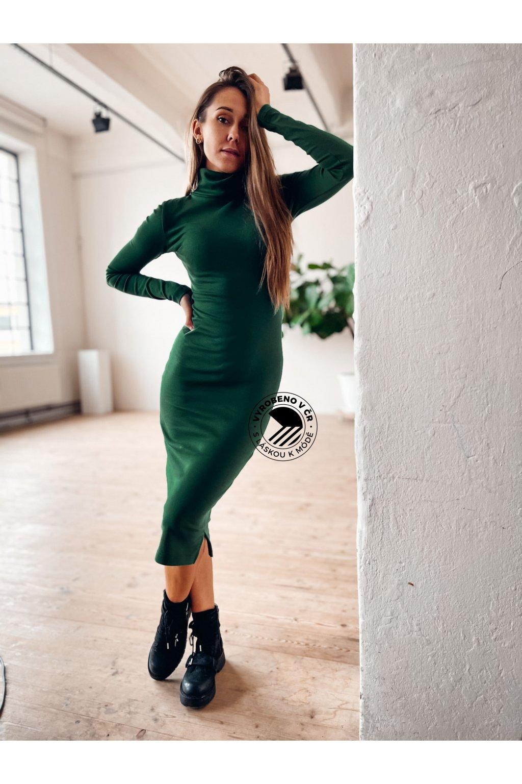 eshopat cz damske bavlnene saty long bottle green
