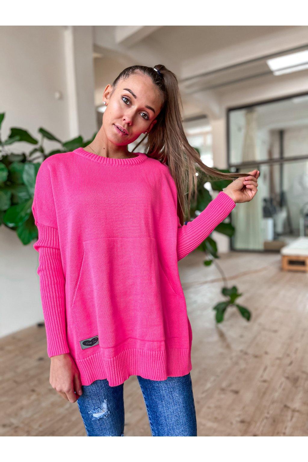damsky svetr s kapsou spring pink eshopat cz 1
