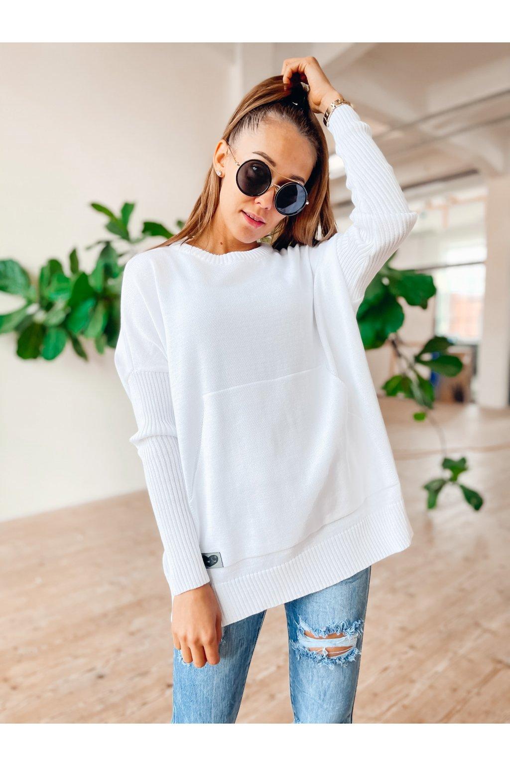 damsky svetr s kapsou spring white eshopat cz 1