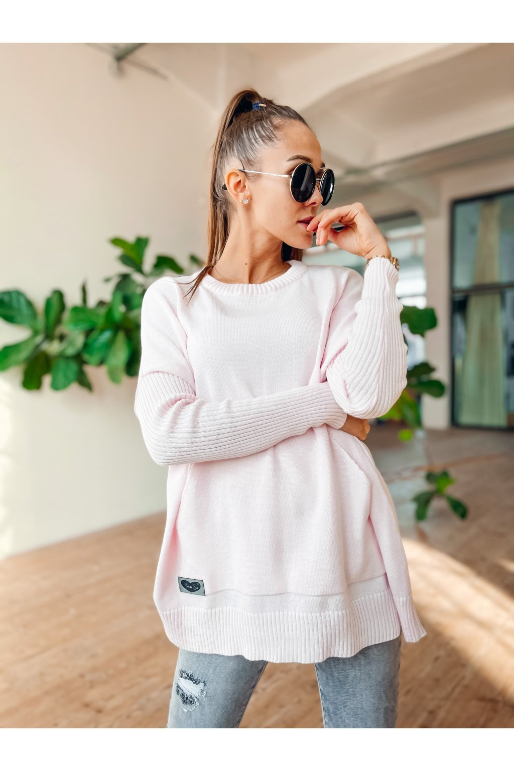 damsky svetr s kapsou spring light pink eshopat cz 1