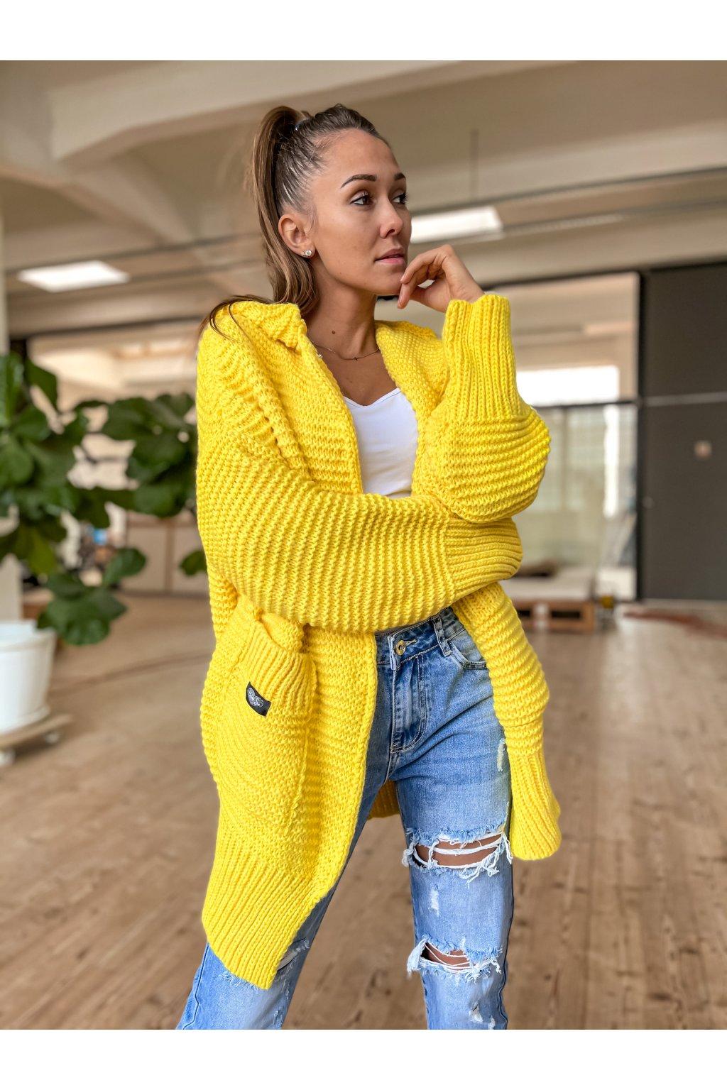 damsky cardigan maxi yellow eshopat cz 1