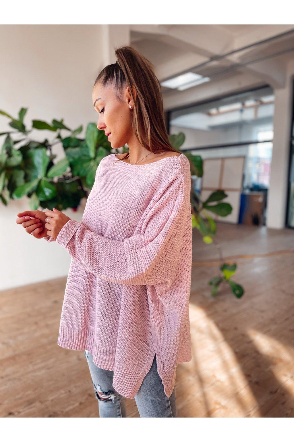 damsky oversize svetr camilo powder pink shopat cz 1