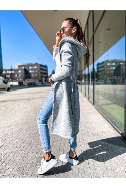 damsky cardigan s kapuci long grey eshopat cz 1