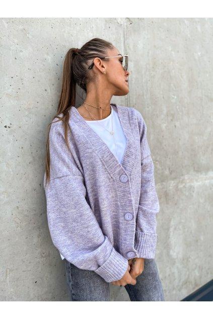 damsky svetr s knofliky lila grey eshopat cz 5