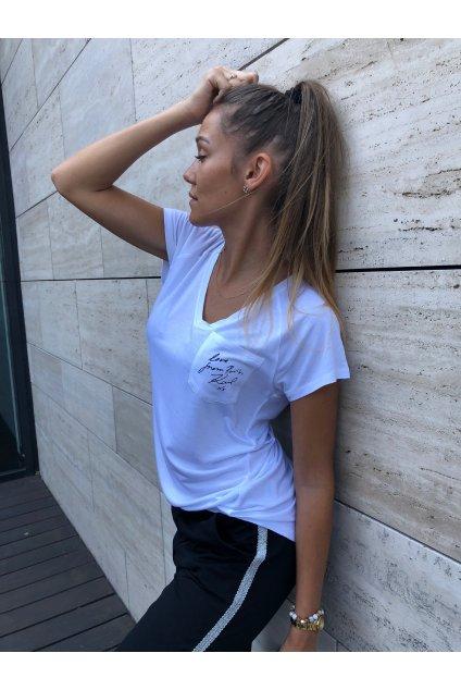 damske tricko karl lagerfeld v neck logo tee white eshopat cz 5