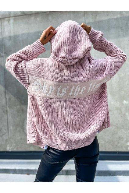damsky trhany svetr na zip limit powder pink eshopat cz 1