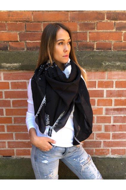 damsky satek karl lagerfeld abstract print fringed scarf black eshopat cz 1