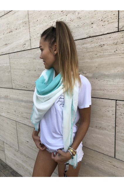 satek karl lagerfeld paris abstract print fringed scarf aqua splash eshopat cz 1
