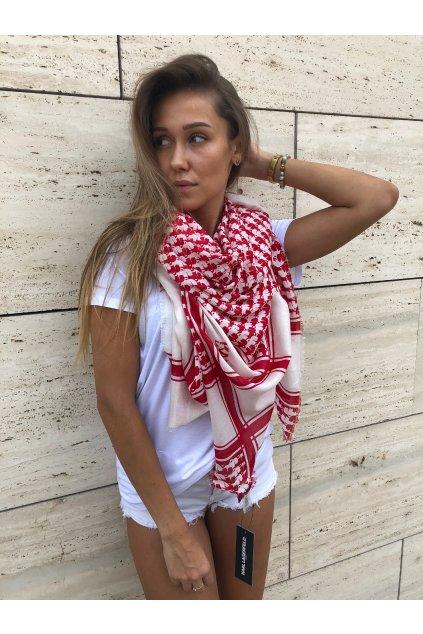 damsky satek karl lagerfeld paris karl border scarf rouge eshopat cz 2