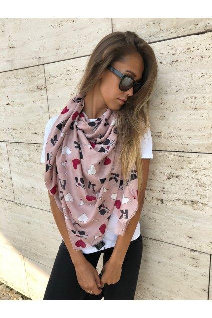 damsky satek karl lagerfeld kocktail choupette scarf pale rose eshopat cz 1