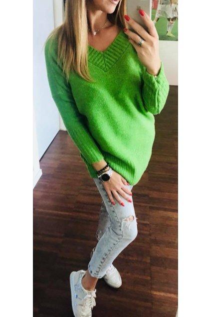 damsky svetr v neck green eshopat cz 1