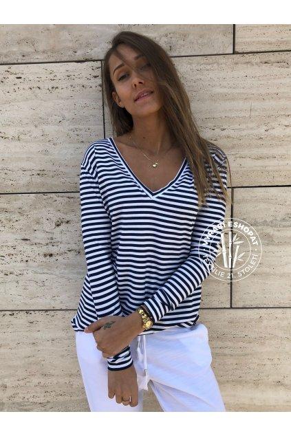 eshopat cz damske tricko bamboo classic long sleeve stripe navy