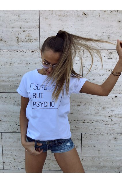 damske tricko cute but psycho white eshopat cz 1