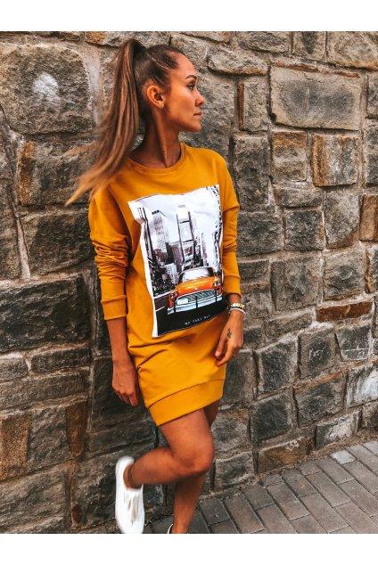 damska prodlouzena mikina taxi mustard eshopat cz 1