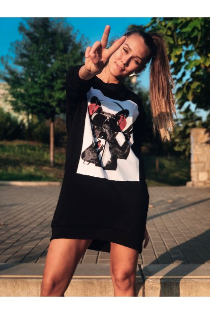 damska prodlouzena mikina peace dog black eshopat cz 1