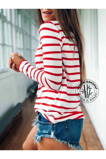 eshopat cz damske tricko bamboo long sleeve stripe red