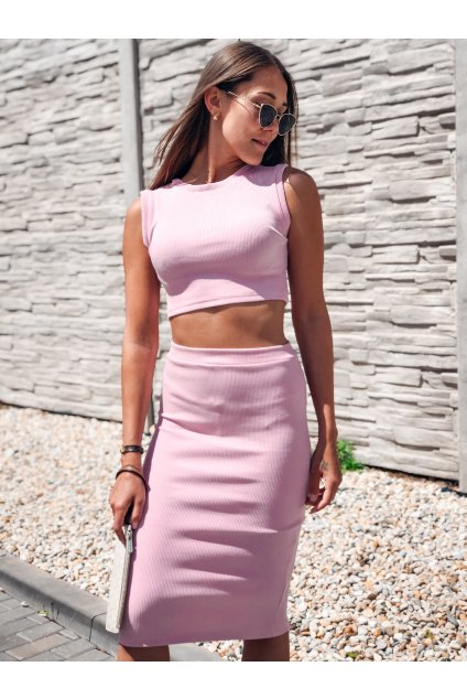 damska zebrovana sukne lisa powder pink eshopat cz 1
