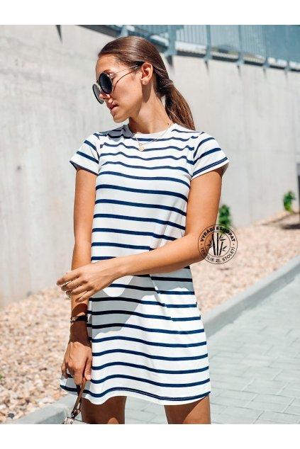 eshopat cz damske saty basic bamboo short sleeve stripe blue