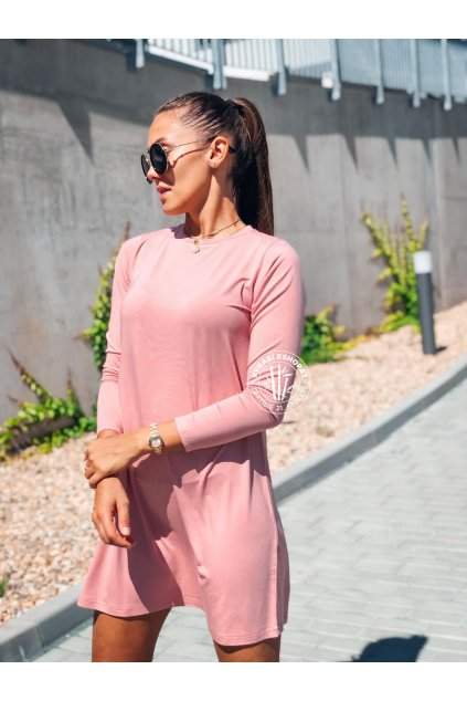 eshopat cz damske saty basic bamboo long sleeve rose