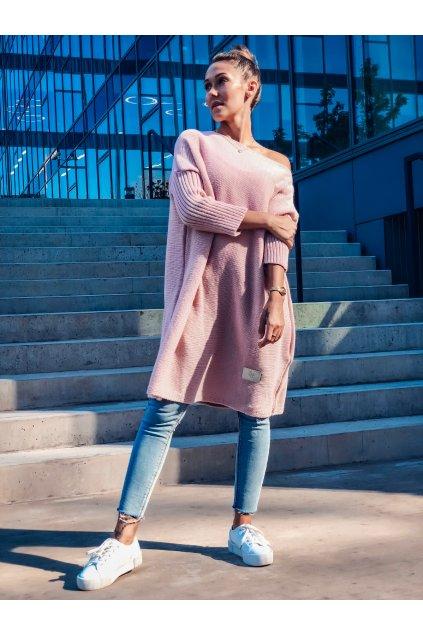 damsky svetr long powder pink eshopat cz 1
