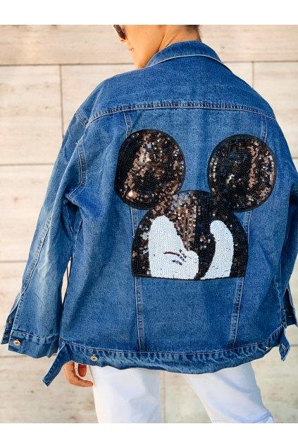 damska riflova bunda jeans s aplikaci miki eshopat cz 5