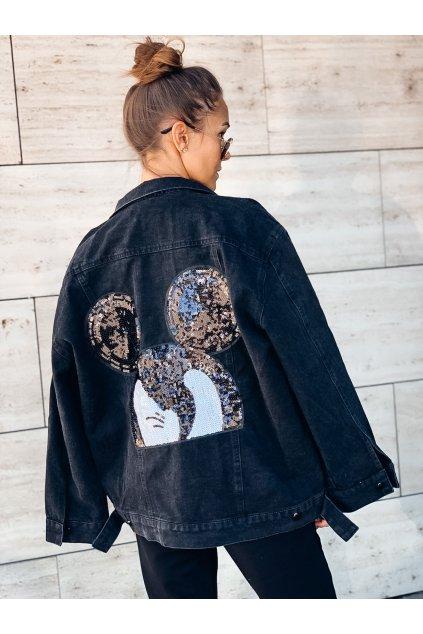 damska riflova bunda black s aplikaci miki eshopat cz 3