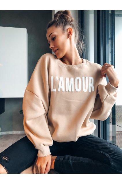 damska mikina l amour beige eshopat cz 4