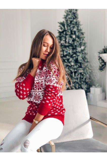 damsky svetr christmas snowflakes red eshopat cz 1