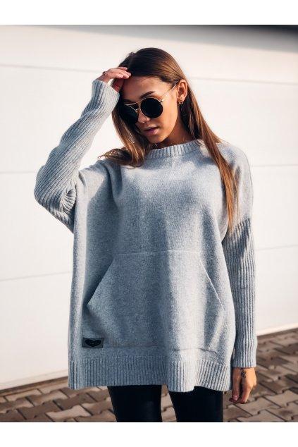 damsky svetr s kapsou grey eshopat cz 4