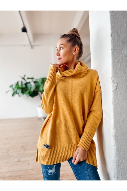 damsky rolakovy svetr premium mustard eshopat cz 2