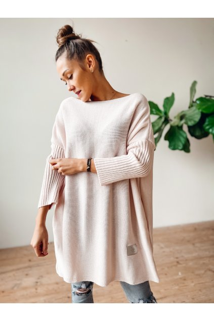 damsky svetr long light pink eshopat cz 1