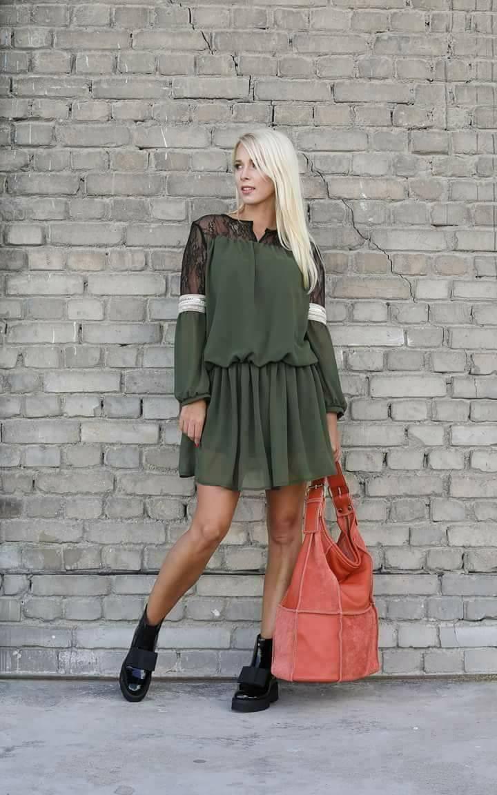 Eshopat Dámské šaty Fairy Khaki Velikost oblečení: M