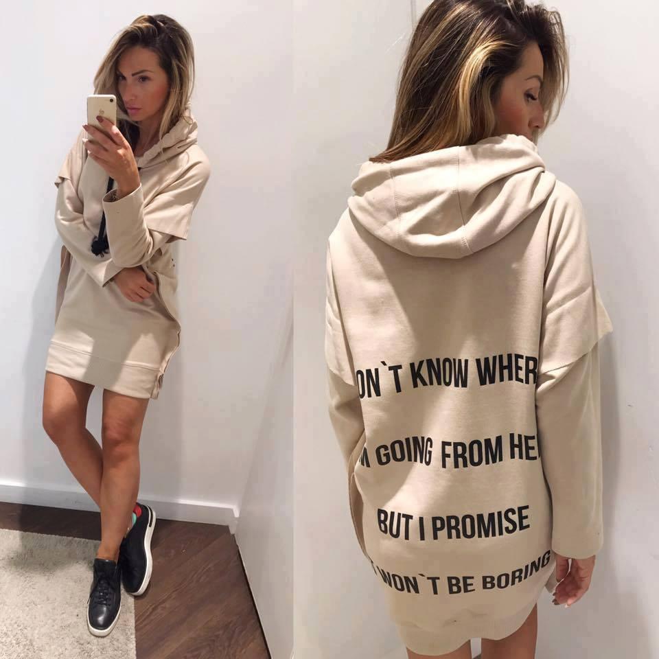 Eshopat Dámské šaty/mikina Promise Beige Velikost oblečení: S