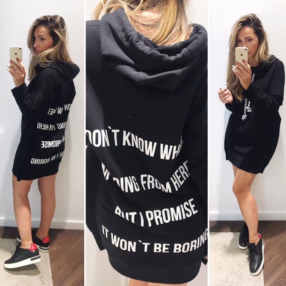 Eshopat Dámské šaty/mikina Promise Black Velikost oblečení: M