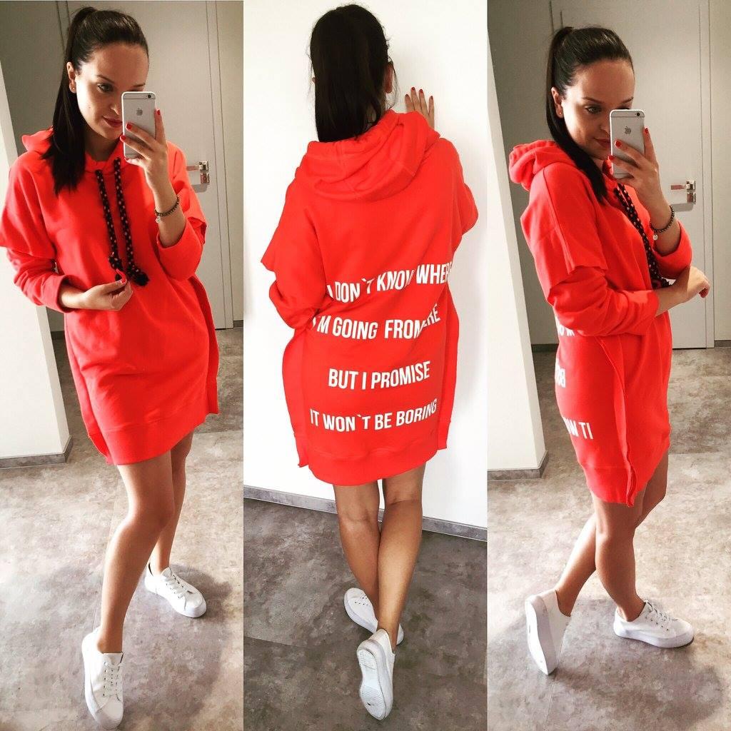 Eshopat Dámské šaty/mikina Promise Orange Velikost oblečení: S