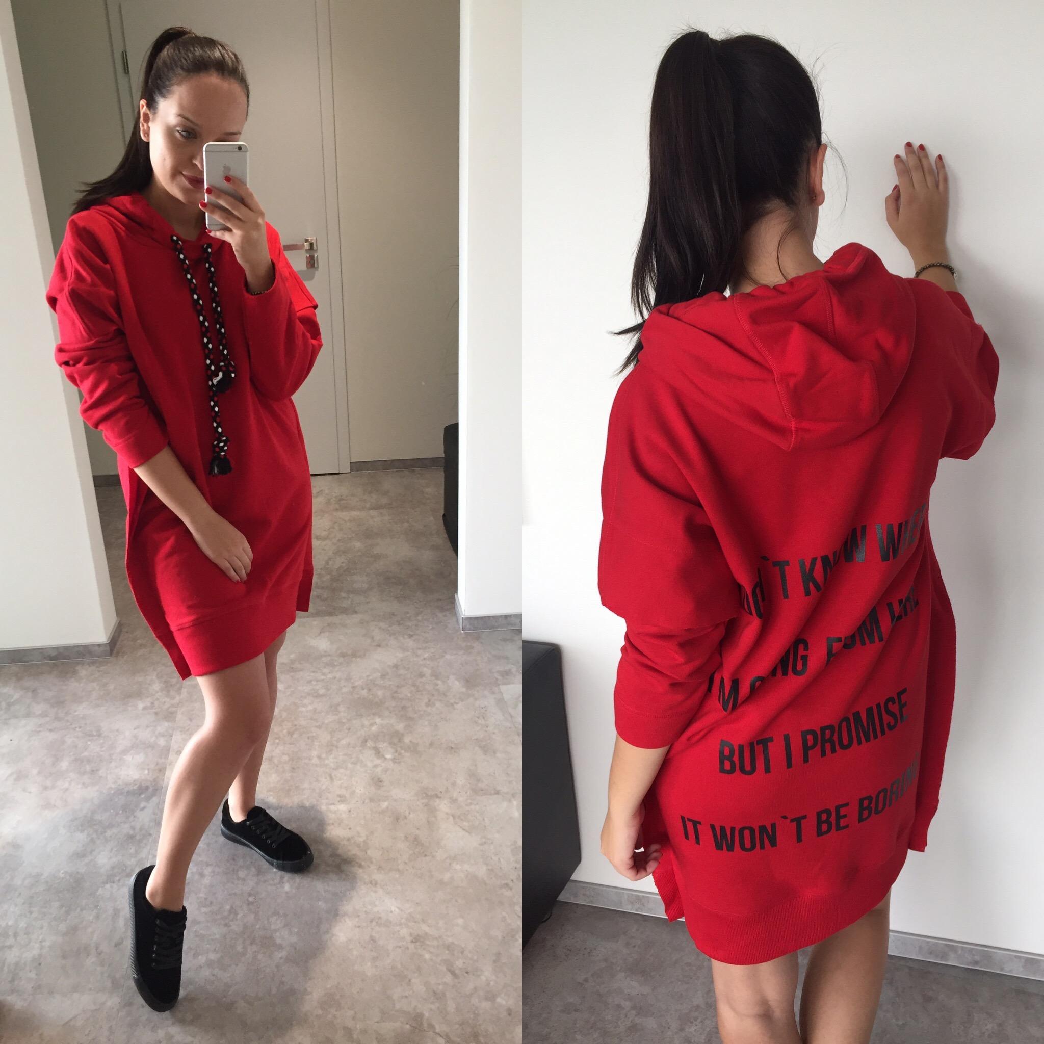 Eshopat Dámské šaty/mikina Promise Red Velikost oblečení: M