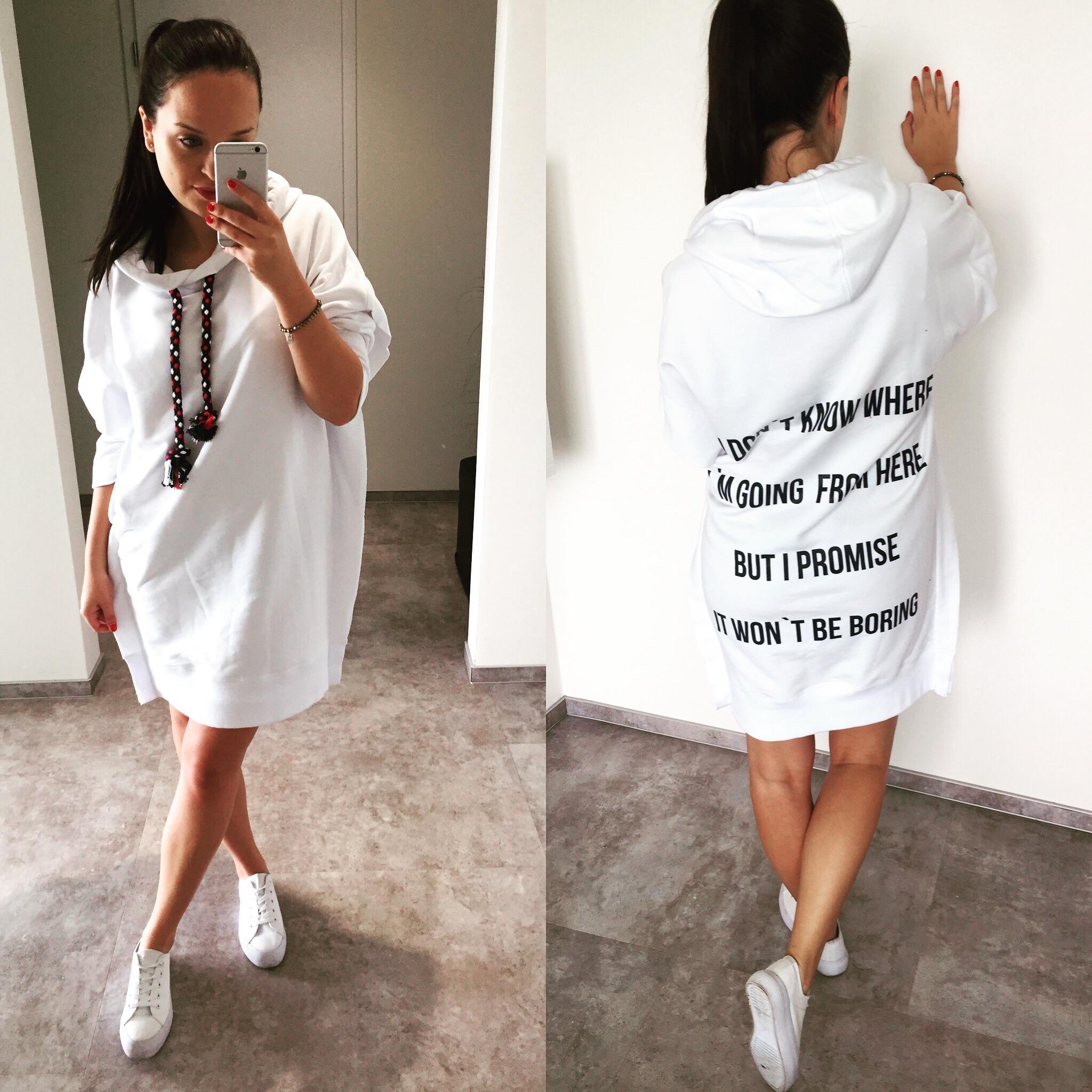 Eshopat Dámské šaty/mikina Promise White Velikost oblečení: M