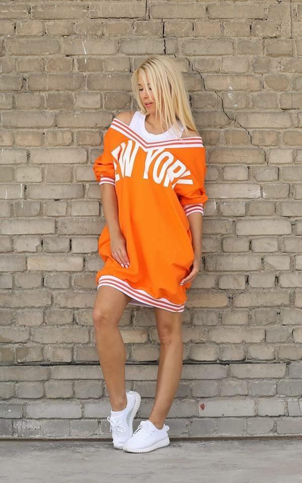 Eshopat Dámské šaty New York Style Orange Velikost oblečení: UNI
