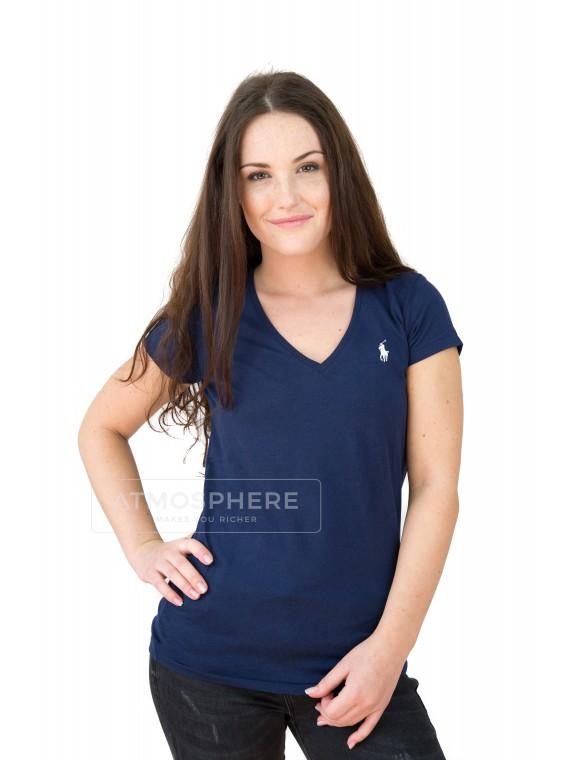 Dámské tričko Ralph Lauren Basic Vneck Navy Velikost oblečení: S