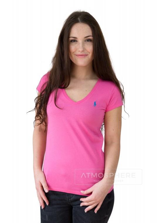 Dámské tričko Ralph Lauren Basic Vneck Pink Velikost oblečení: XS
