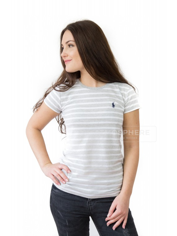 Dámské tričko Ralph Lauren Novelty Stripe Grey Velikost: XS