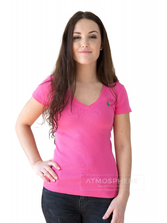 Dámské tričko Ralph Lauren Vneck Medium Pink Velikost oblečení: M