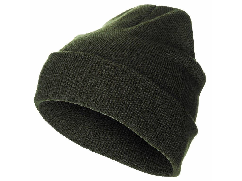 Čepice jemně pletená Acryl ZELENÁ
