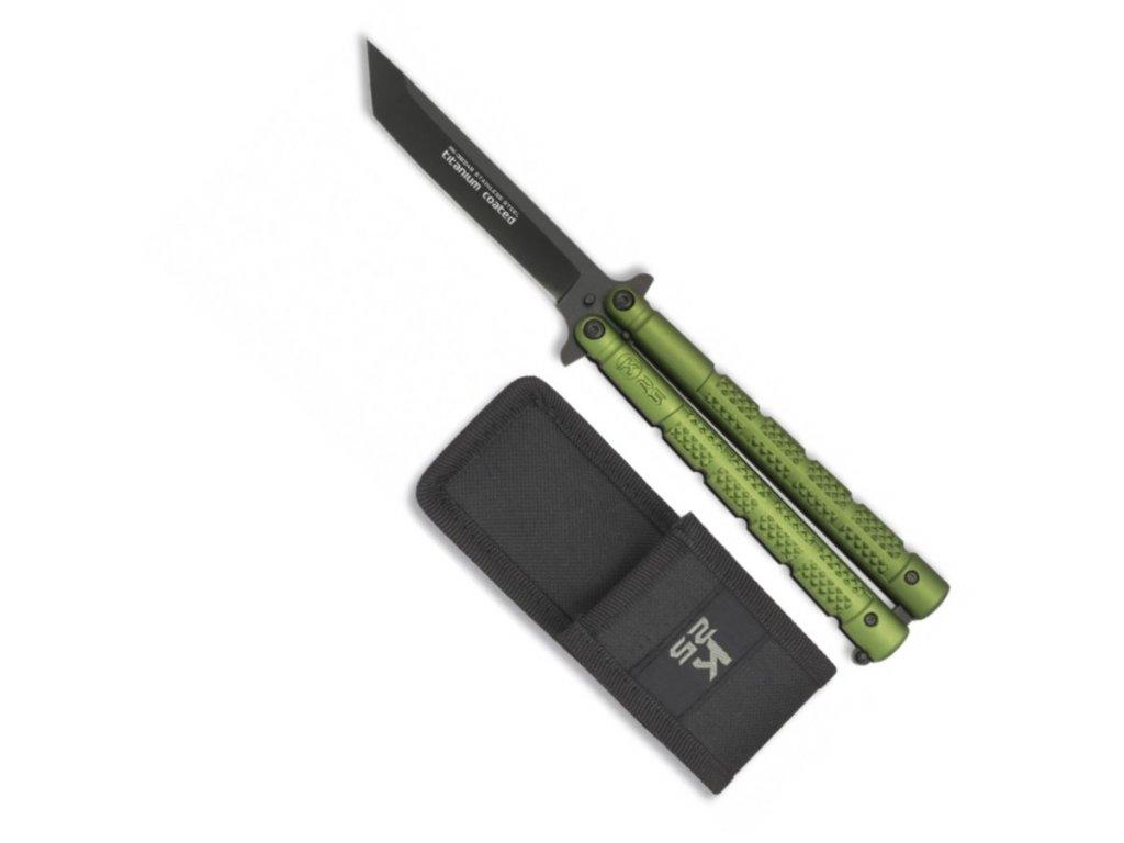 Nůž motýlek K25 TANTO s pouzdrem ZELENÝ