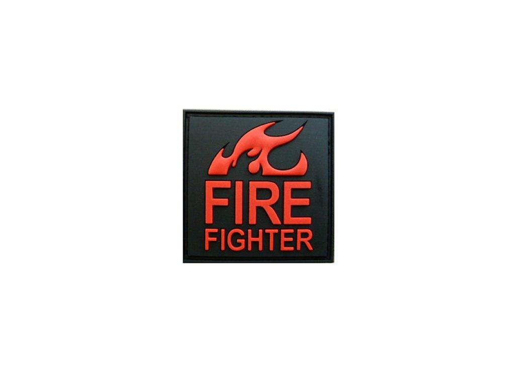 Nášivka FIRE FIGHTER plast ČERNÁ/ČERVENÁ