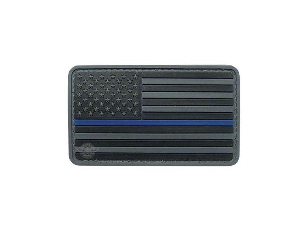 Nášivka vlajka US s modrým pruhem velcro plastová TMAVÁ
