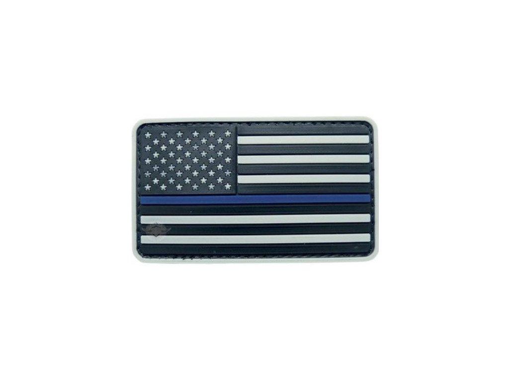 Nášivka vlajka US s modrým pruhem velcro plastová