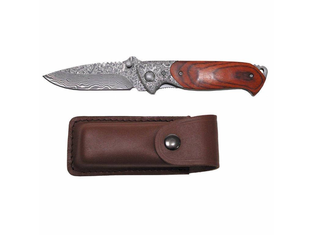 """Nůž zavírací """"Damašek"""" dřevěná střenka + kožené pouzdro"""