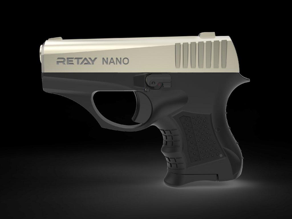 Plynová pistole Retay Nano 8 mm P.A.K. - satén